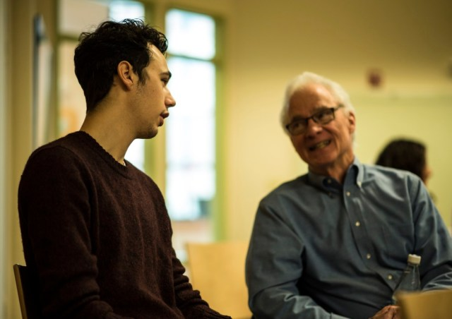 KSC student Erik Labieniec speaks to Bob Rooney, retired from MPB